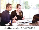 young and successful business... | Shutterstock . vector #584292853