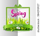 hello spring love card with... | Shutterstock .eps vector #584293927