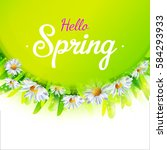 hello spring card with green... | Shutterstock .eps vector #584293933
