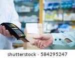customer taking credit card... | Shutterstock . vector #584295247