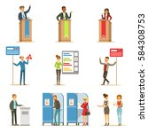 political candidates and voting ... | Shutterstock .eps vector #584308753