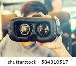 glasses of virtual reality.... | Shutterstock . vector #584310517