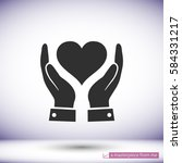 in the hands of the heart  icon ... | Shutterstock .eps vector #584331217