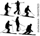 set mountain skier speeding... | Shutterstock . vector #584337823