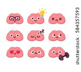 cute cartoon brain emoticons... | Shutterstock .eps vector #584357593