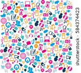 social media pattern icons | Shutterstock .eps vector #584374423