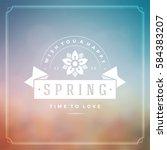 spring vector typographic... | Shutterstock .eps vector #584383207