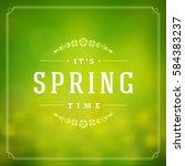 spring vector typographic... | Shutterstock .eps vector #584383237