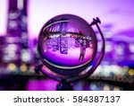 crystal globe with blur... | Shutterstock . vector #584387137