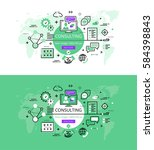set of modern vector... | Shutterstock .eps vector #584398843