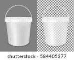 transparent plastic bucket for... | Shutterstock .eps vector #584405377