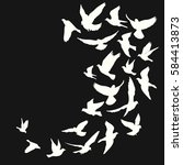 flying birds silhouette vector... | Shutterstock .eps vector #584413873