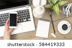 top view office desk for...   Shutterstock . vector #584419333