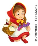 cartoon little girl with lunch... | Shutterstock . vector #584422243