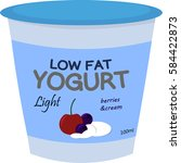 low fat yogurt | Shutterstock .eps vector #584422873