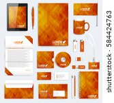 brown set of vector corporate... | Shutterstock .eps vector #584424763