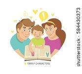 teaching child to read. family... | Shutterstock .eps vector #584430373