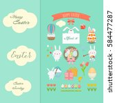 happy easter card with rabbit... | Shutterstock .eps vector #584477287