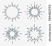 set of black sunbursts graphic... | Shutterstock . vector #584483593
