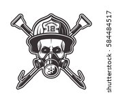skull in respirator and... | Shutterstock .eps vector #584484517