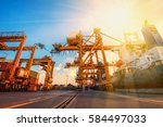 container container ship in... | Shutterstock . vector #584497033