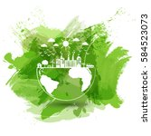 green city of the world  eco... | Shutterstock .eps vector #584523073