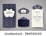 set of wedding invitation... | Shutterstock .eps vector #584534143