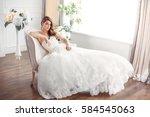 wedding. bride in beautiful... | Shutterstock . vector #584545063