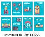 radio life day brochure cards... | Shutterstock .eps vector #584555797