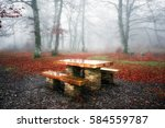 Picnic Table On Foggy Forest