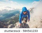 Man Traveler Climbing Mountain Summit - Fine Art prints