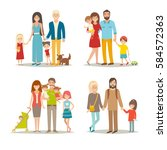 happy family set. cartoon... | Shutterstock . vector #584572363