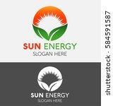 Sun Logo With Green Leaf Icon...