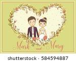 wedding invitation. vector card ... | Shutterstock .eps vector #584594887