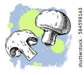 hand drawn mushroom. can be... | Shutterstock .eps vector #584598163