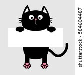 black funny cat hanging on... | Shutterstock .eps vector #584604487