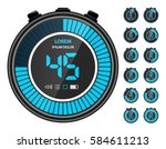 cyan blue electronic digital... | Shutterstock .eps vector #584611213