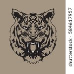 angry tiger face | Shutterstock .eps vector #584617957