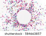 flatlay of colorful round paper ... | Shutterstock . vector #584663857