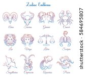 colorful zodiac emblems... | Shutterstock .eps vector #584695807