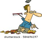 cartoon man gloomy about chores | Shutterstock .eps vector #584696197