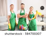 cleaning service team at work... | Shutterstock . vector #584700307