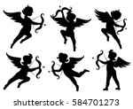 vector set of silhouettes of... | Shutterstock .eps vector #584701273