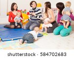 group of mothers with their... | Shutterstock . vector #584702683
