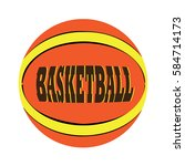 isolated basketball ball with... | Shutterstock .eps vector #584714173