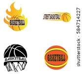 set of basketball related... | Shutterstock .eps vector #584714227