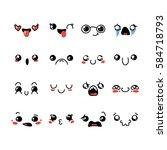set of cute lovely kawaii... | Shutterstock . vector #584718793
