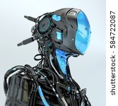 black robotic soldier pilot... | Shutterstock . vector #584722087