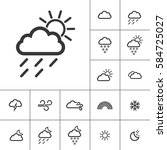 rainy sunny. weather icons with ... | Shutterstock .eps vector #584725027