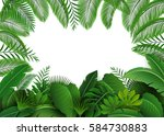 background of tropical leaves.... | Shutterstock .eps vector #584730883
